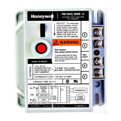 Honeywell R8184G4074 Protectorelay Oil Burner Control with 30 second safety timing