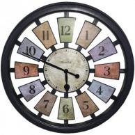 """Westclox 36014 Round Colored Panels See-Through Clock 18"""""""