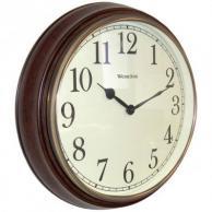 "Westclox 73004P Round Dark Woodgrain Clock 15.5"""