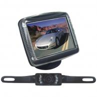 """PYLE PLCM36 3.5"""" Slim TFT LCD Universal Mount Monitor System with License Plate Mount & Rearview Camera"""