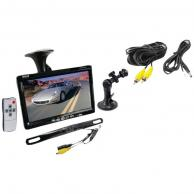 """PYLE PLCM7500 7"""" Window Suction-Mount TFT LCD Widescreen Monitor & License Plate Mount Rearview Color Camera with Distance-Scale Line"""