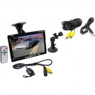 """PYLE PLCM7700 7"""" Window Suction-Mount TFT LCD Widescreen Monitor & Universal Mount Rearview Color Camera with Distance-Scale Line"""